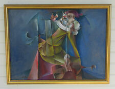 VINTAGE ALEXANDER RIKHTER MASTERPIECE CUBISM ABSTRACT FIGURE SURREAL PAINTING
