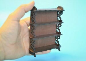 """Dollhouse Miniature Handcrafted Bookcase Shelf Display 3 .5"""" X 4 .5""""  scale 1:12"""