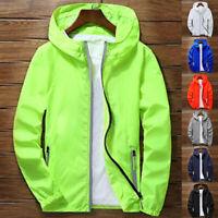 Men's Waterproof Windbreaker ZIPPER Jacket hoodie Light Sports Outwear Coat Tops