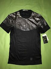 Nike Pro HyperCool Fitted Black Silver Tee Shirt - Mens S Advanced Performance C
