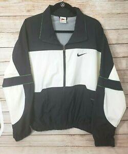 Nike Windbreaker Jacket Med Nylon Vintage Black White Green Big Swoosh 80's