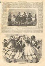 Ice Skating In New England, Skating In The North Of Europe, 1858 Antique Print
