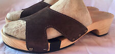 Cordani Womens 40 US 8 Brown Suede Leather Wood Clogs Sandals Slides Germany