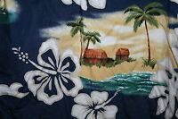 Mens Hawaiian ALOHA Shirt MEDIUM RJC Made in Hawaii USA Hibiscus Palm Trees Huts