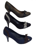 Womens Ladies Faux Suede Mid High Heel Smart Italian Bow Heels Court Shoes Size