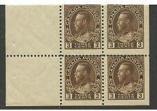 Canada 1918 KGV Admiral 3c brown Booklet pane of 4 #108a MNH