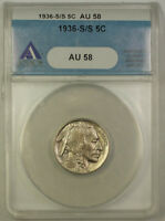 1936-S/S RPM Buffalo Nickel 5c Coin Variety ANACS AU-58