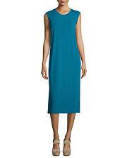 Eileen Fisher Jewel Round Neck Calf Length Viscose Jersey Dress Petite M NWT