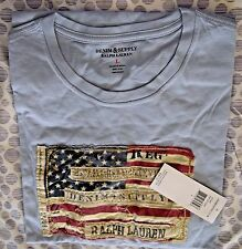 NWT Denim & Supply Ralph Lauren Men's American Flag Tee Large Sky MSRP:$39.50