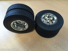 Tamiya 1/14 Trailer Rear Wheels Tyres Set Hauler Actros Scania Volvo Arocs