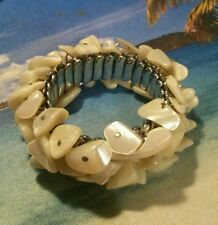 Vintage Mother of Pearl Bauble Bead Expandable Band Cuff Bracelet - Japan