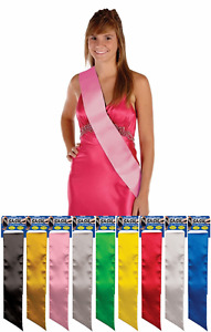 BACHELORETTE PAGEANT BIRTHDAY BABY SHOWER HEN PARTY BLANK PLAIN SATIN SASH DIY