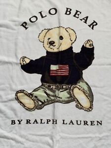 Vintage POLO Sit Down Bear Beach Towel Ralph Lauren American Flag Spell Out USA