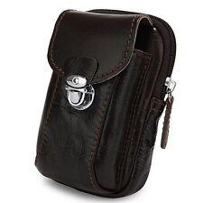 Universal Brown Pouch Leather Smart Phone Belt Clip Wallet Case