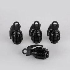 4X Black Grenade Bomb Exterior Wheel Tyre Tire Valve Stems Air Dust Cover Caps