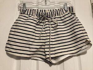 J Crew Womens Navy Linen Blend Striped Shorts Size XXS