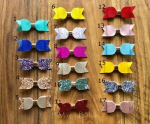 Baby Girl Newborn Toddler Leather Small Bow Piggy Tail Alligator Hair Clip