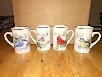 VTG Lot Winter Birds Ceramic Coffee Mugs DesignPac Bluejay,Cardinal,Robin,Chicka