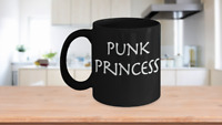 Punk Princess Mug Black Coffee Cup Funny Gift for Girlfriend, Daughter Rock