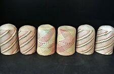 Set of six 1960s Native South American colors wicker woven cup holders
