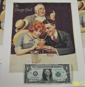 """6 Vintage Norman Rockwell """"An Orange Crush"""" Moment Lovers drinking Soda Posters"""