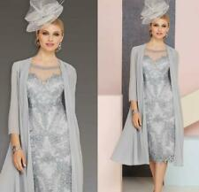 Gray Mother Of The Bride Dresses Lace 2 Pieces Outfit Chiffon Jacket Custom Made