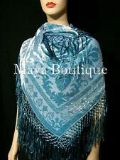 Piano Shawl Wrap Scarf Silk Burnout Velvet Ice Blue Maya Boutique