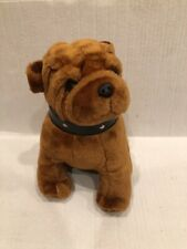 Adorable Brown Bulldog Plush Toy With Collar 10�