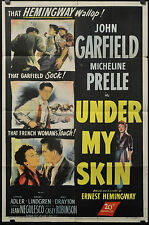 UNDER MY SKIN 1950 ORIG 27X41 MOVIE POSTER ERNEST HEMINWAY JOHN GARFIELD