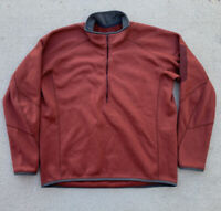 Vtg Arcteryx Wool Jacket 1/4 Zip Sweatshirt Men's Size Large Brick Red