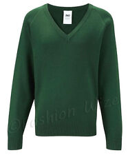 Boys School Jumper Knitted Sweatshirt V Neck School  Ages 3 4 5 6 7 8 9 10 11