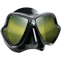 Mares X-Vision Ultra Liquidskin Mask, All Black - Gold Mirrored Lens