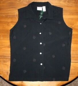 Women's  OP sport Floral  Embroidered  Sleeveless   Button Front  Blouse  Large