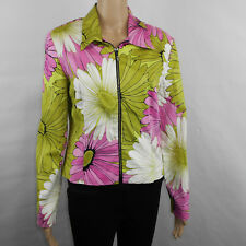 Joseph Ribkoff Trends Womens Zippered Pink Green Floral Jacket Size 10