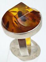 Mondäner Art Deco Silber Ring 800 Silber großer facettierter Bernstein RG 59 A93