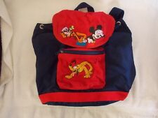 Disney Store  Mickey Mouse, Goofey & Pluto Embroidery Blue Backpack