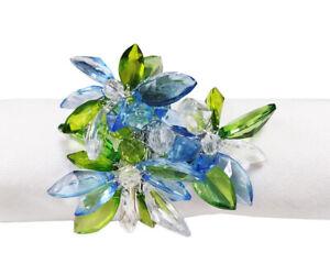 Fennco Styles Handmade Unique Blue Multi-Flower Napkin Rings, Set of 4