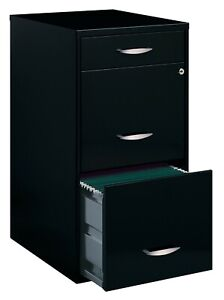 Space Solutions Deep 3 Drawer Metal File Cabinet with Pencil Drawer, Black NEW