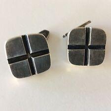 HaH Signed  Hans Hansen? 925S Sterling Silver Cufflinks Denmark Modernist Cross