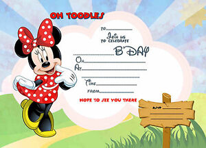 Disney Minnie Mouse kids Birthday Party Invitations. X 8 CARDS + envelopes