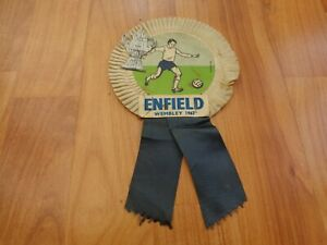 VINTAGE ENFIELD WEMBLEY 1967 FA TROPHY FINAL FOOTBALL SUPPORTERS ROSETTE PENNANT
