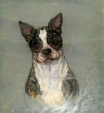 ARTIST SIGNED ORIGINAL PASTEL PAINTING OF BOSTON TERRIER DOG