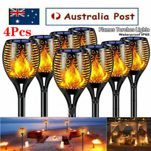 4 Pcs LED Solar Flickering Torch Path Light Dancing Flame Garden Landscape Lamp