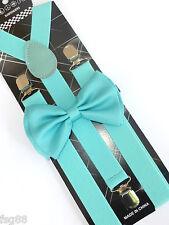 New Wedding Aqua Mint Green Bow Tie Matching Collar Band Suspender & Bow Tie Set