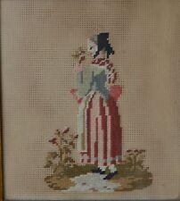 Antiguo 19th Century Old Costura foto de un período de mujer con flores