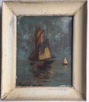 Tableau Huile XXe Marine Bateaux voilier Eugene HIEBLOT (1886-1953)