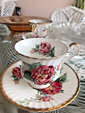 Vintage Paragon Bone China England footed cup saucer Rose Signed Saraborde D50C