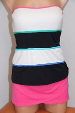 NWT Anne Cole Swimsuit Bikini Tankini 2 pc set Sz XL Bandeau Multi Pink Skirt