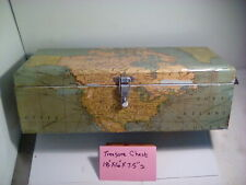 VINTAGE WOOD TREASURE CHEST WITH MAP DÉCOR, ROUNDED FINGER JOINT CORNERS, USED
