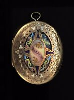 Victorian Mourning Locket Pendant Enamel Regard Hinged Gold Cased aesthetic1880